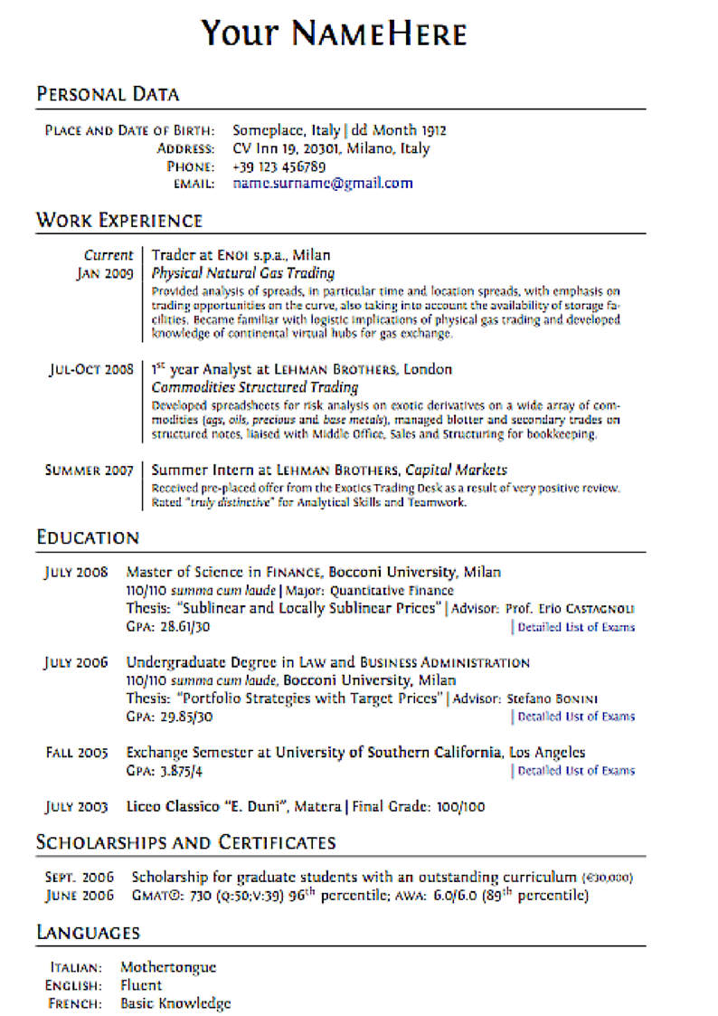 cv writing layout - Sample Effective Resume
